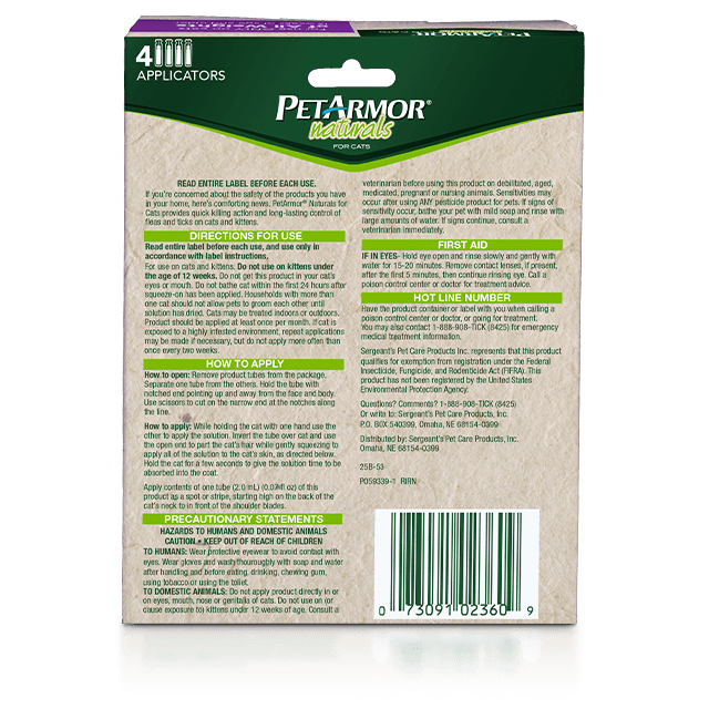 PetArmor Naturals Flea and Tick Topcial for Cats - Back Panel