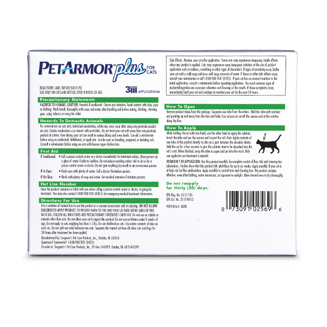 PetArmor Plus Flea and Tick Treatment for Cats - Back Label