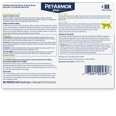 PetArmor Plus Flea and Tick Treatment for Cats - Back