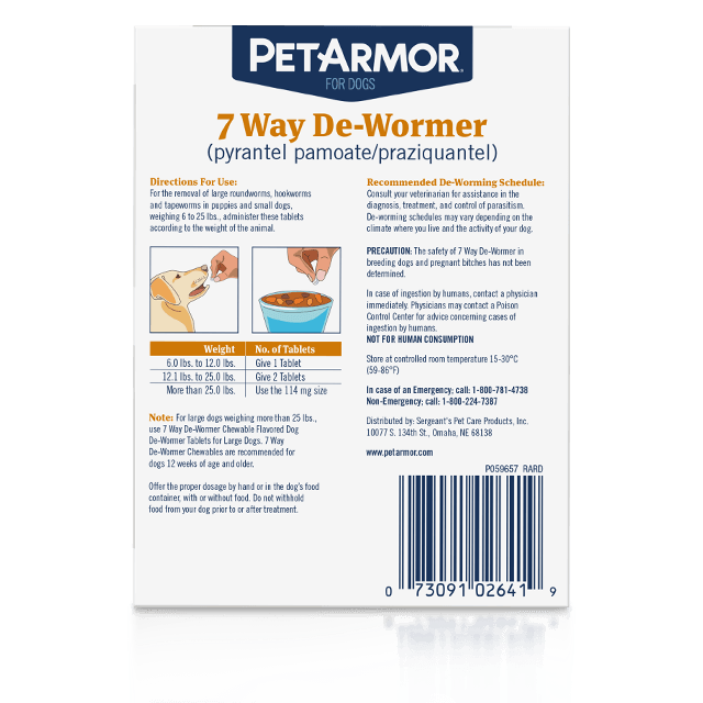 PetArmor 7 Way De-Wormer for Puppies and Small Dogs - Back Label