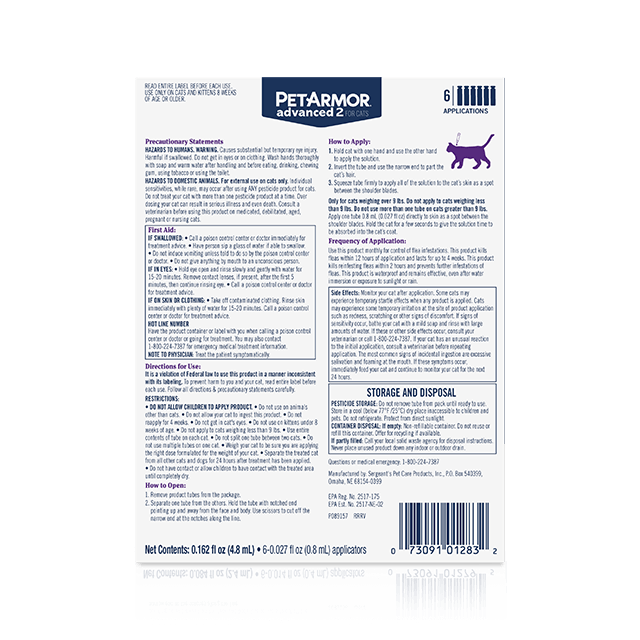 PetArmor Advanced 2 Flea Treatment for Large Cats - Back Panel