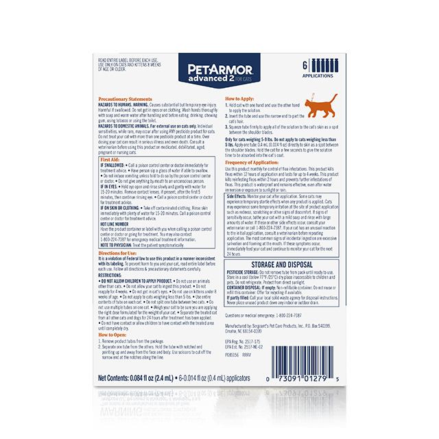 PetArmor Advanced 2 Flea Treatment for Medium Cats (3 to 10 Pounds) - Back Panel
